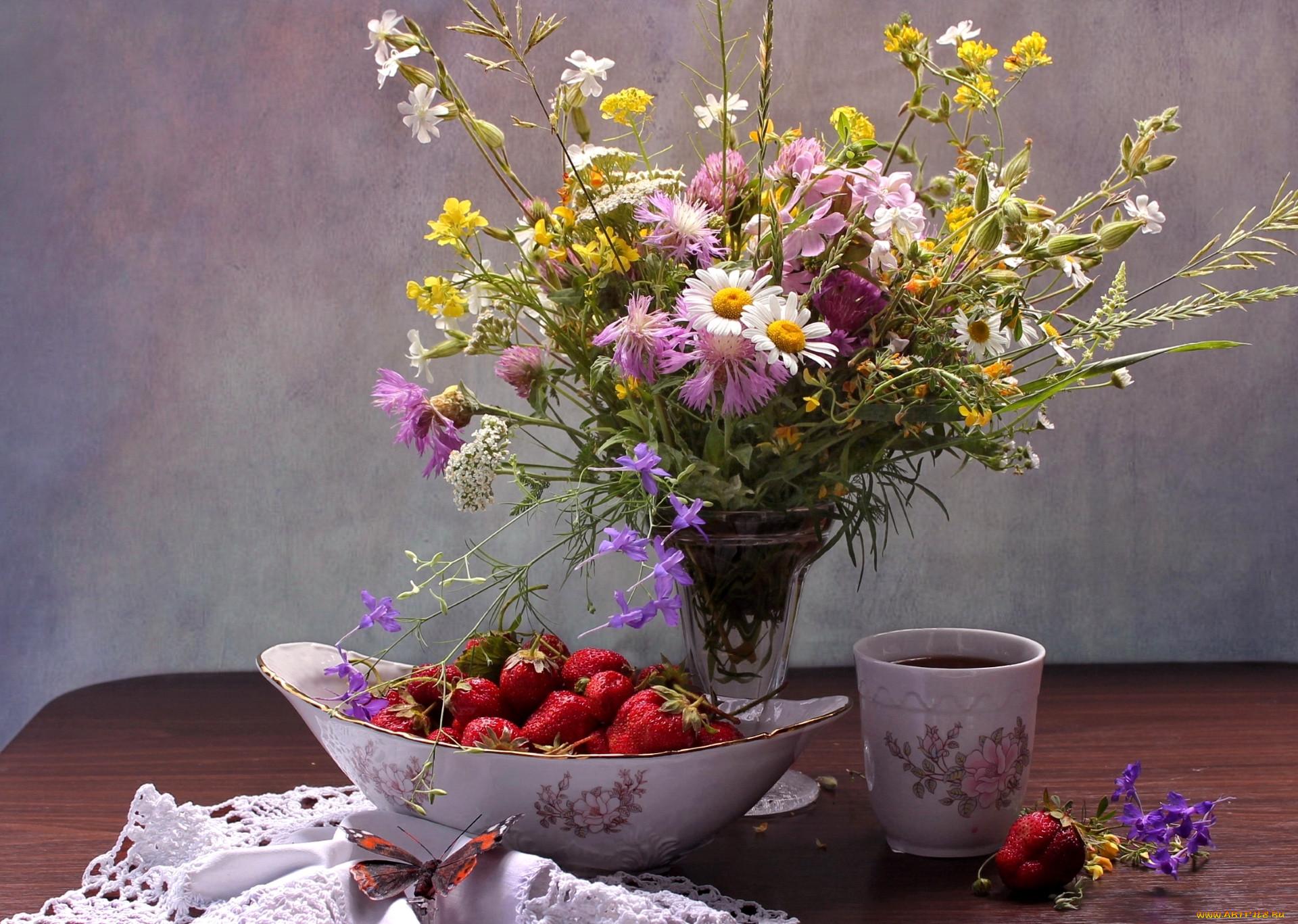 устала картинки с полевыми цветами и ягодами начале